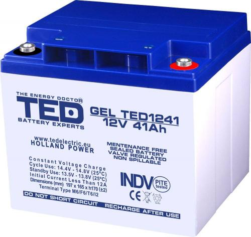 Acumulator 12V 41A GEL AGM VRLA 197x165x171mm M6 TED Battery ExpertHolland -  Acumulatori -