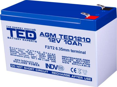 Acumulator AGM VRLA 12V 10A 151x65x95mm F2 TED Battery Expert Holland -  Acumulatori -